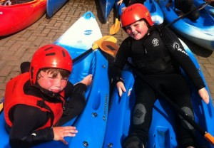 Scouts Harry and James Eccles about to go out kayaking on the water